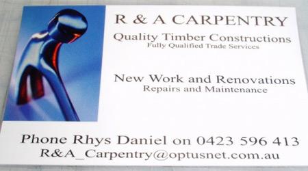 Tradesman business card