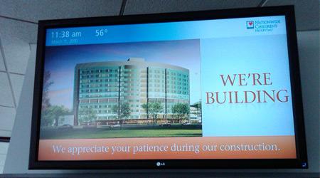 Digital signage announcing construction