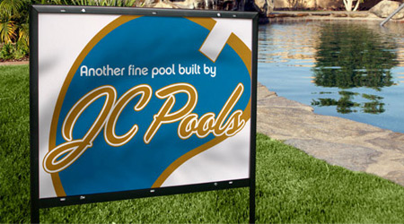 Pool company lawn sign