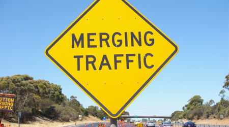 Sign that says merging traffic
