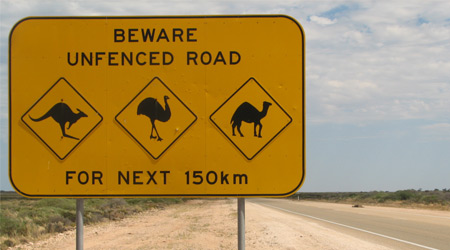 Unfenced Area road sign